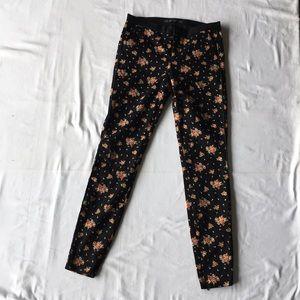 Zara Trafaluc black floral pants sz02